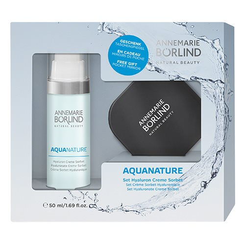 Image of Annemarie Börlind Aquanature sæt Hyalurone Cream Sorbet 50 ml & pocket mirror